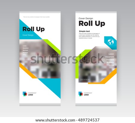 Orange and Green Creative Abstract Shapes Business Roll Up Banner Stand brochure flyer flat design template with new trend concept. Cover presentation. Corporate identity. Layout in rectangle size