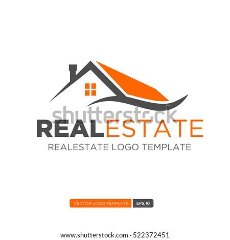 Orange and Grey Home Logo vector. Real estate logo template. Vector Illustration eps.10