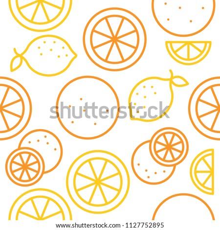 Orange and lemon seamless pattern outline for use as wallpaper
