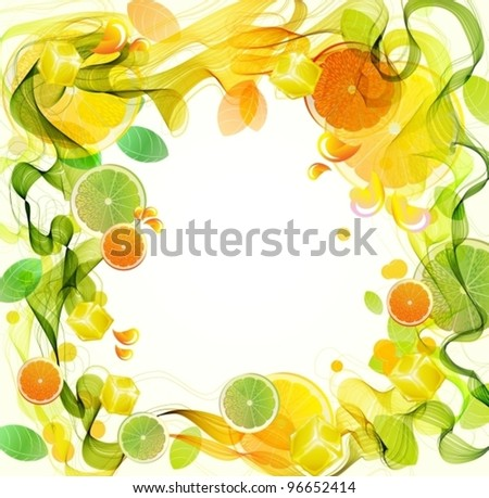 Orange and lime juice splash with abstract wave, beautiful vector illustration - stock vector