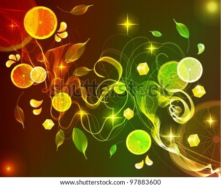 Orange and lime juice splash with abstract wave,vector background illustration