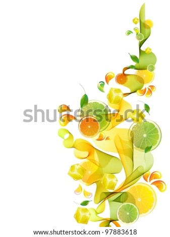Orange and lime juice splash with abstract wave, vector background illustration - stock vector