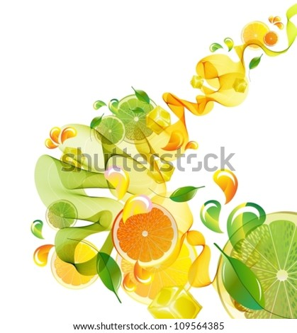 Orange and lime juice splash with abstract wave, vector illustration