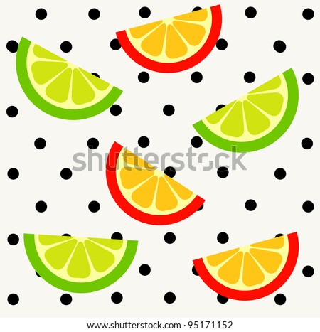 Orange and lime slices on polka dot background. Seamless pattern.