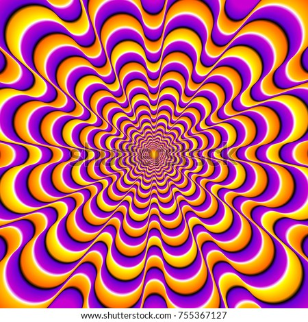 Orange and purple  background with yellow spirals. Optical expansion illusion.