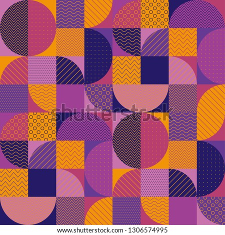 Orange and purple tile and seamless patch pattern. An abstract textured geometric repeatable motif in vintage 70s style. Tile element for fabric, wrapping paper,print and web projects. Scalable vector