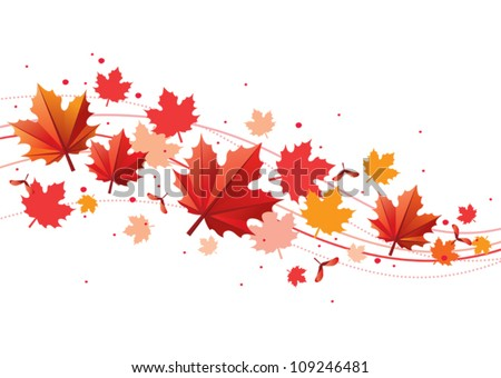 Orange and red fall design element with maple leaves and seeds
