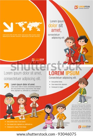 Orange and red template for advertising brochure with children students