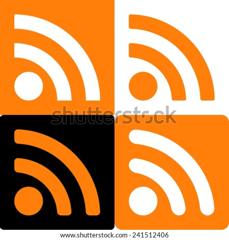 Orange And White Set Of Four Web Rss Feed Sign. Square Shape Icons On Black And White And Orange Background. Vector Illustration 10 EPS