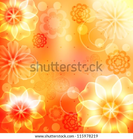 Orange and yellow background with flowers and butterflies