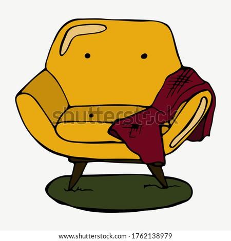 orange armchair  red plaid