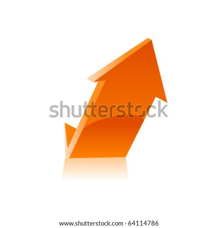 Orange arrow icon. Vector