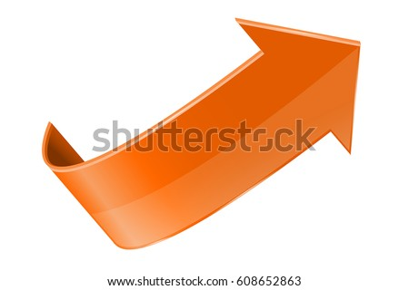 Orange arrow. Vector 3d illustration isolated on white background