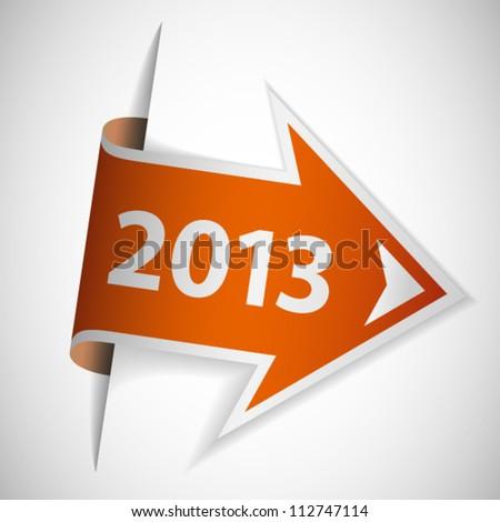 Orange arrow with year 2013