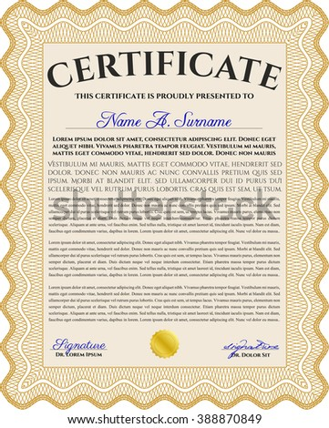 Orange Awesome Certificate template. With great quality guilloche pattern. Money Pattern. Award.