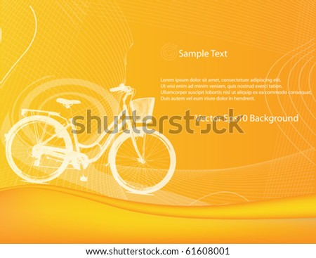 Orange Background Vector with bicycle