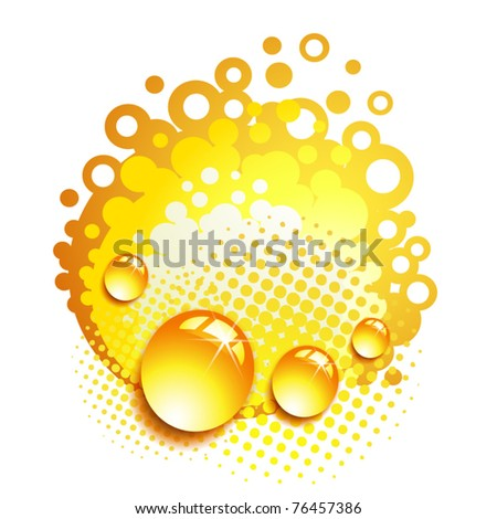 Orange background with drops and bubbles isolated on white