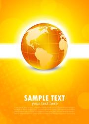 Orange background with globe