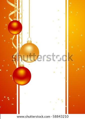 Orange background with new year decorations. Vector illustration. #58843210