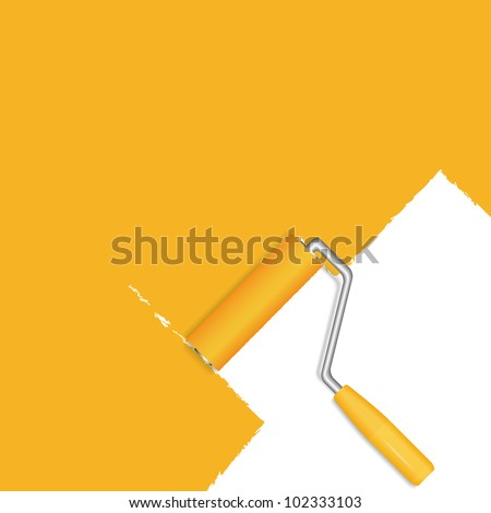 Orange background with paint roller, vector eps10 illustration