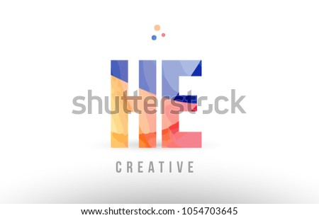orange blue alphabet letter he h e logo combination design with dots suitable for a company or business #1054703645