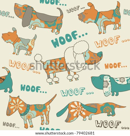 orange-blue seamless vector with  dogs