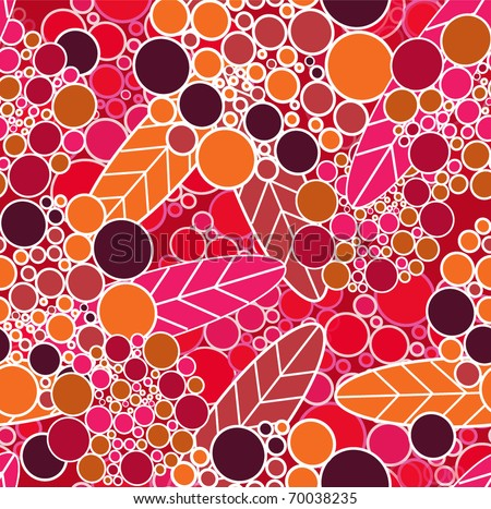 Orange bright vector seamless texture with flowers