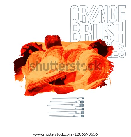 Orange brush stroke and texture. Grunge vector abstract hand - painted element. Underline and border design. - Shutterstock ID 1206593656