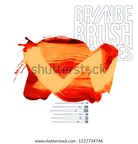 Orange brush stroke and texture. Grunge vector abstract hand - painted element. Underline and border design. #1227734746
