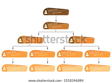 Orange business structure concept, corporate organization chart scheme with people icons. Vector illustration.