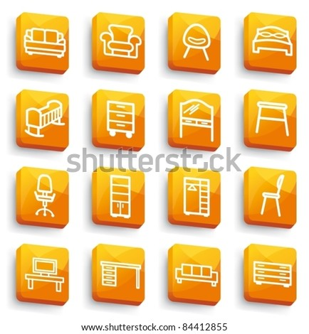 Orange buttons with furniture icons