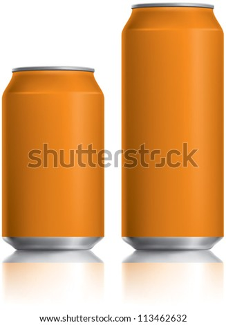 Orange can vector visual 330 ml & 500 ml, ideal for Fizzy Orange Juice drink, beer, lager, alcohol, soft drinks, soda, fizzy pop, energy drink etc. Drawn with mesh tool. Fully adjustable & scalable