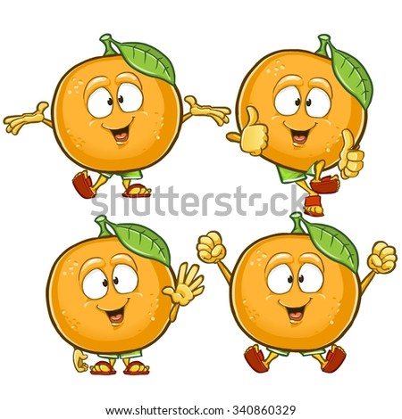 orange cartoon character set