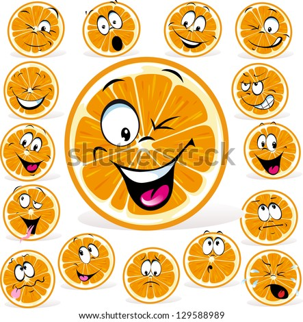 orange cartoon with many