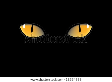 cat eyes in the dark. stock vector : orange cat eyes