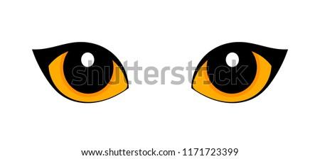 Orange cat eyes isolated on white background. Vector illustration
