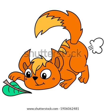 orange cat playing with a leaf, doodle draw kawaii. vector illustration art
