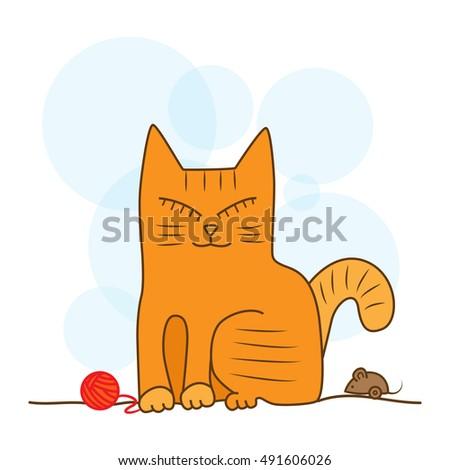 orange cat sitting with his