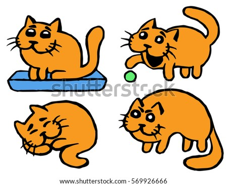 orange cats emoticons second