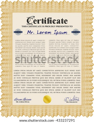 Orange Certificate. Detailed. Complex design. Printer friendly.
