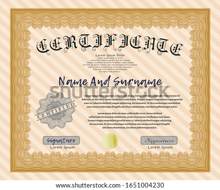 Orange Certificate diploma or award template. With quality background. Elegant design. Customizable, Easy to edit and change colors.