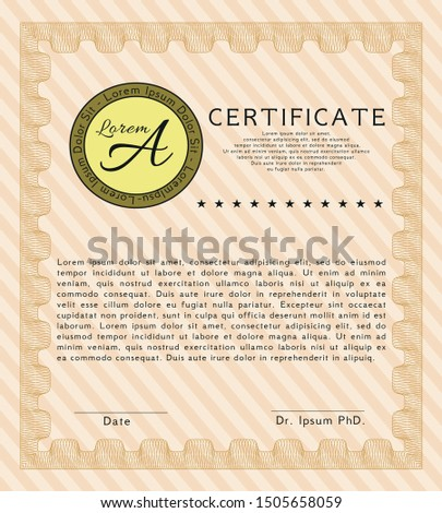 Orange Certificate of achievement. Complex background. Customizable, Easy to edit and change colors. Good design.