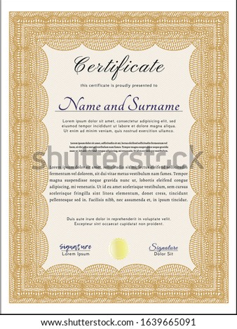 Orange Certificate of achievement. Perfect design. With complex background. Customizable, Easy to edit and change colors.