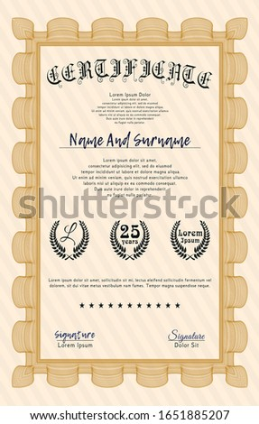 Orange Certificate of achievement template. With quality background. Retro design. Customizable, Easy to edit and change colors.