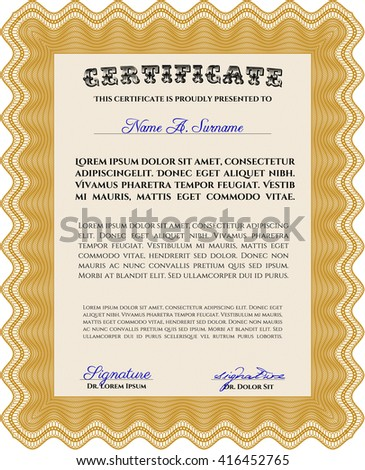 Orange Certificate template or diploma template. Beauty design. Vector pattern that is used in currency and diplomas.Complex background.