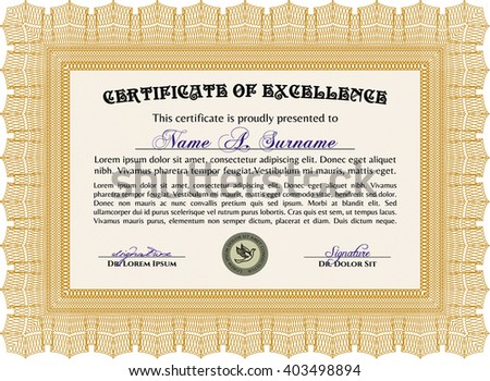 Orange Certificate template or diploma template. Complex background. Vector pattern that is used in currency and diplomas.Superior design.