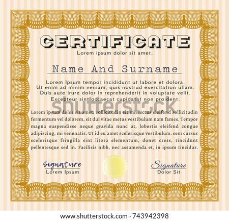 Orange Certificate Template Or Diploma Template. Easy To Print. Vector  Illustration. Money Pattern  Money Certificate Template