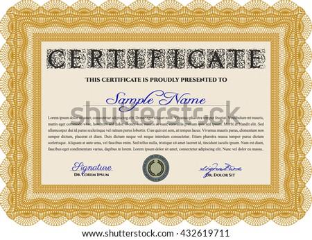 Orange Certificate template. Printer friendly. Detailed. Nice design.
