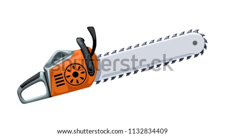 orange chainsaw on white