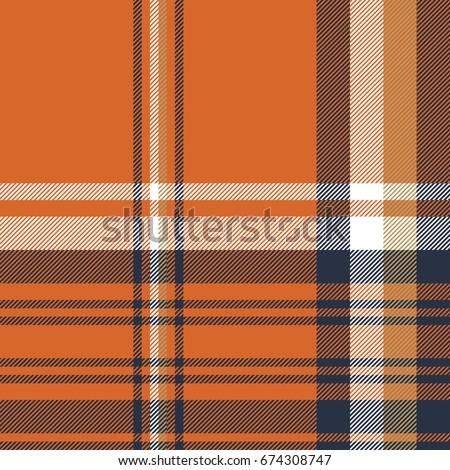 Orange check plaid seamless pattern. Vector illustration.